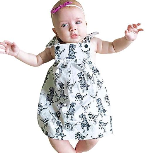 b322325bdd9 Goodlock Toddler Infant Fashion Dress Baby Girls Dinosaur Bow Cartoon  Sleeveless Clothes Princess Dress (Size
