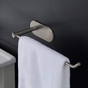 Duoue Toallero Autoadhesivo Porta Toallas de Pared de Acero Inoxidable estanteria baño toallero Pared Ganchos Toalleros: Amazon.es: Hogar