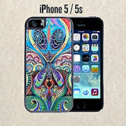 iPhone Case Psychedelic Alien for iPhone 5 / 5s Black 2 in 1 Heavy Duty (Ships from CA) With Free .33 mm Premium Tempered Glass Screen Protector