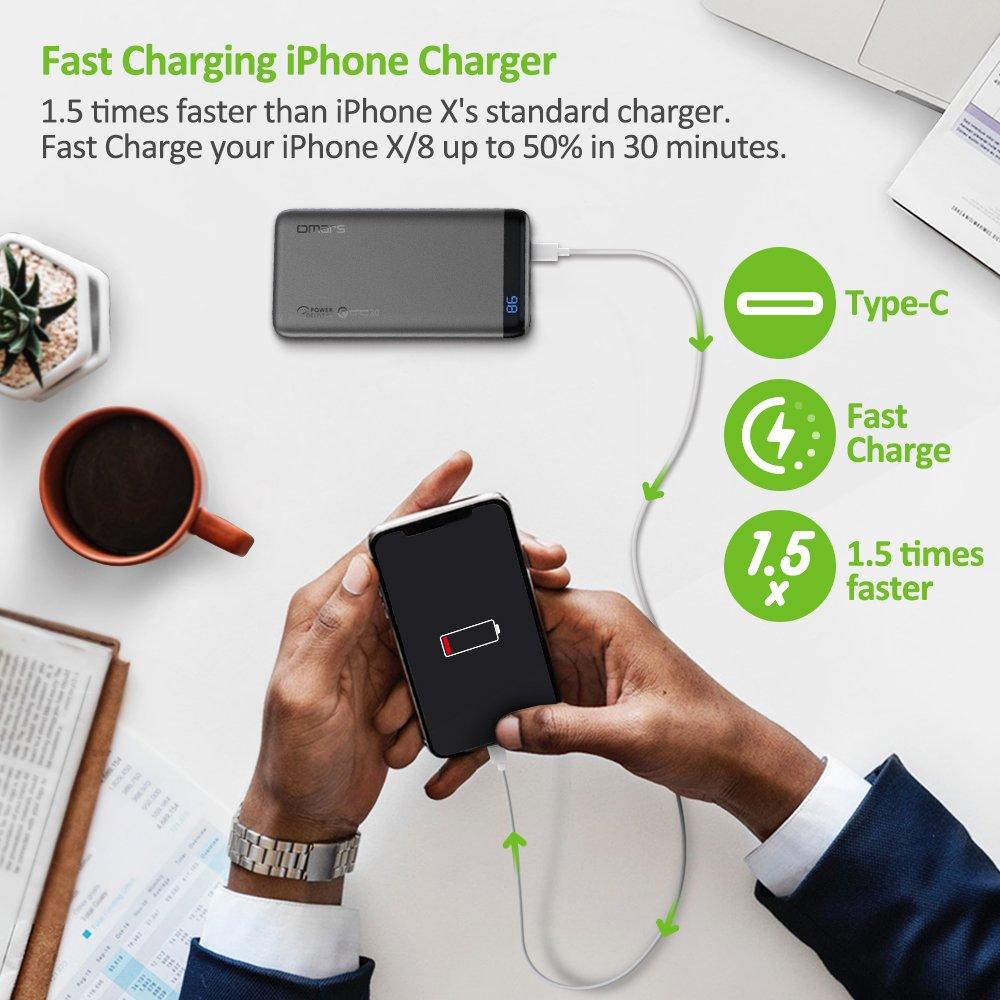 Tabletas Omars Bater/ía Externa Carga R/ápida 18W PD /& QC3.0-10000 mAh PowerBank con USB-C /& USB-A Negro Cargador Port/átil para Moviles Android /& iOS