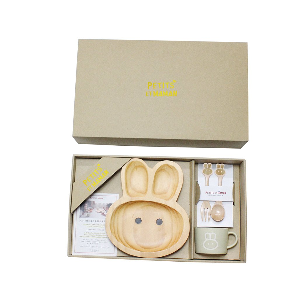 Time Concept Petits Et Maman Wooden Dinnerware Gift Set for Kids - Rabbit