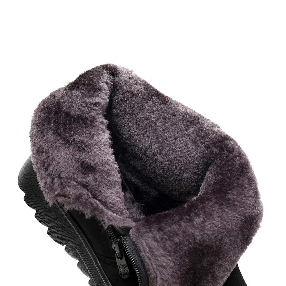 Uirend Shoes Outdoor Snow Boots Women Ladies Cushion Casual Comfort Womens Snow Boot Walk Faux Suede Warm Fur Lined Ankle Shoe