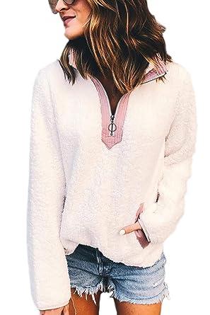 Femmes Sweats Sweat Shirts Sherpa 14 Zipper Revers Poche