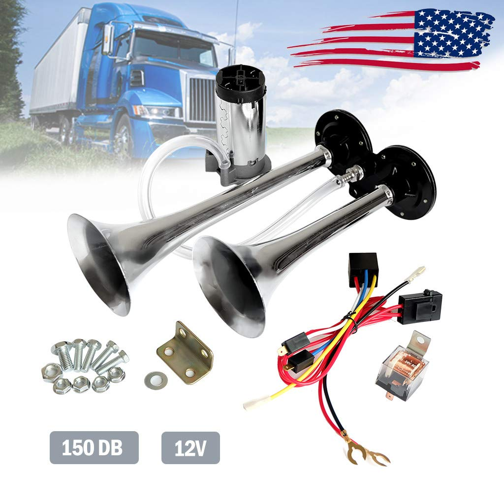JAWM 12V 150db Air Horn Chrome Zinc Dual Trumpet Air Horn with Compressor for Any 12V Vehicles Trucks