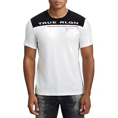 864e3bdd True Religion Men's Contrast Football w/Metallic Foil Horseshoe Logo Tee T- Shirt (