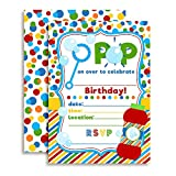Bubble Birthday Party Invitations, Ten 5''x7'' Fill In Cards with 10 White Envelopes by AmandaCreation