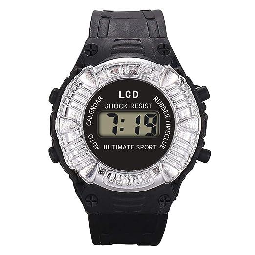 Loolik Relojes Infantiles,Casual Tipo al Aire Libre Impermeable de Resina de PU Digital Analógico Electrónico Deportes Niños Relojes (Negro): Amazon.es: ...