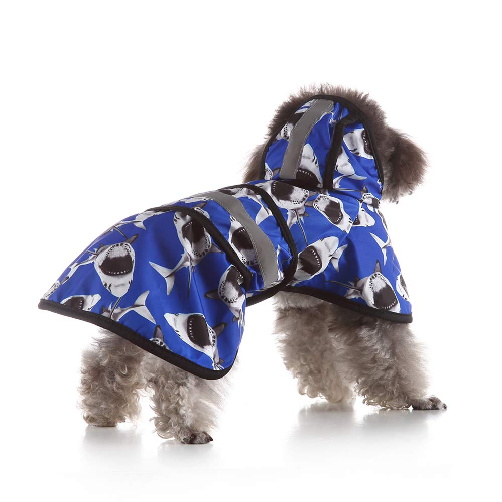 X-Small Dog Raincoats, Dog Outdoor Waterproof Windproof Breathable Lightweight Coat, Dog Poncho with Hood Collar Hole Safe Reflective Strips, for Small Or Medium Dogs,XS