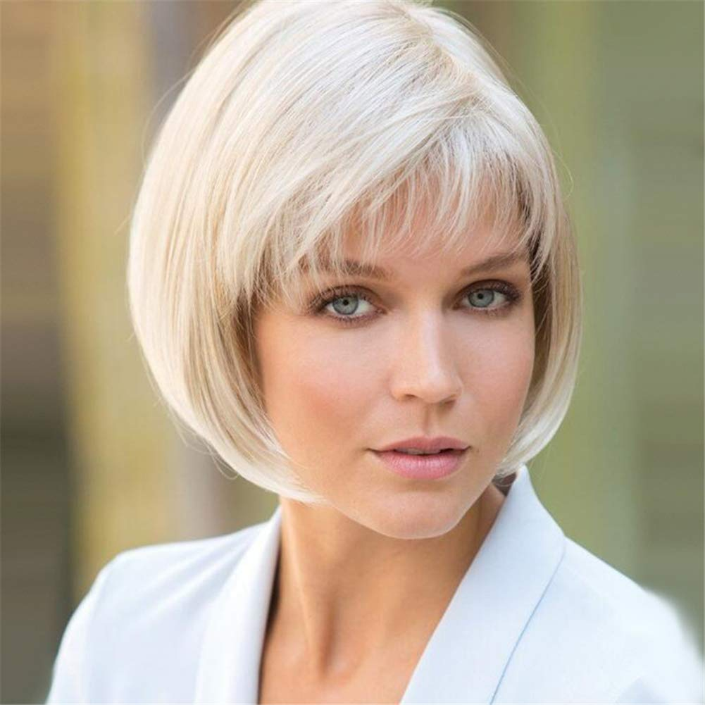 Bob Wigs with Bangs White Blonde Short Straight Synthetic Hair Wigs for Women Natural Full Wig with Free Wig Cap 12' 120G 15465465