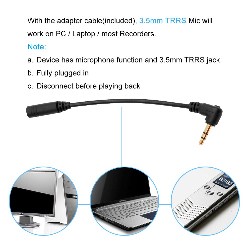 Pop voz Premium 16 pies de doble micrófono lavalier, profesional para Samsung Galaxy S3 MINI i8190 de solapa omnidireccional Micrófono de condensador para ...
