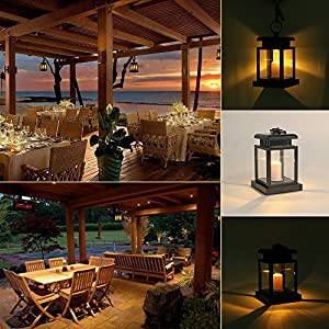Solar Lights Outdoor Hanging Lantern 6 Pack, LVJING Solar Powered Led Lights for Garden Decor Pathway Yard Fence, Warm White, Candle Flicker Effect, Auto On Off