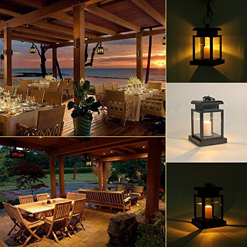 LVJING Solar Lights Outdoor Hanging Solar Lantern, Solar Garden Lights Waterproof for Patio Landscape Yard, Warm White LED Flameless Candles Flickering with Auto Sensor On Off - Lantern Set(6 Pack)