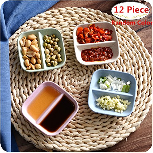 12 Pack Multipurpose Square Shape Seasoning Sauce Dishes, Magnolora Small Appetizer Plates Dipping dish Dinnerware Set - Saucer for Vinegar/Salad/Soy Sauce/Wasabi/Chili Oil