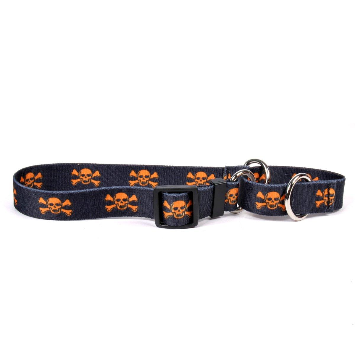 orange Skulls Medium 20\ orange Skulls Medium 20\ Yellow Dog Design Martingale Slip Collar, orange Skulls, Medium 20