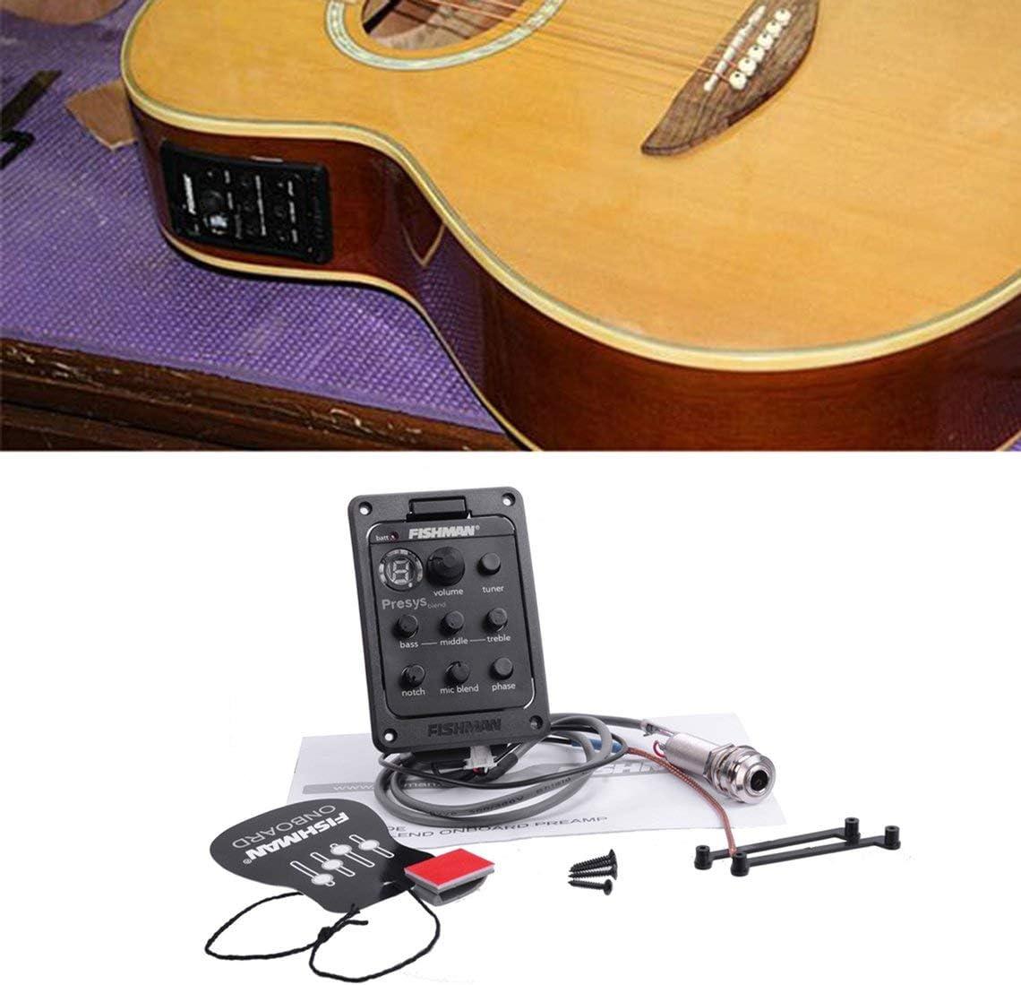 Colore: Nero Fishman 4-Band EQ Equalizer Guitar Preamp Piezo Chitarra acustica Pickup Guitar Tuner con Mic Beat Board Certificazione CE