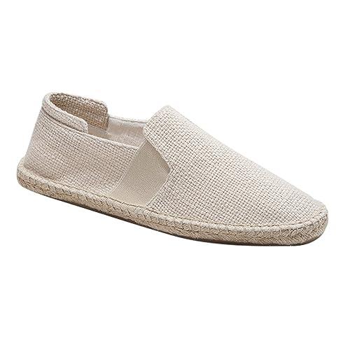 Jitong Clásico Alpargatas Planas de Hombre Color Sólido Mocasines Bajos Punta Cerrada Slip-on Loafers