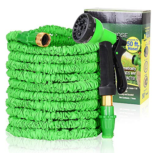 baibu Expandable Garden Hose,3/4″ Solid Brass Fitting Flexible Expanding Water Hose for Garden,Patio,Lawn with 8-Pattern Outdoor Flexible Hose Nozzle