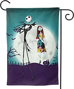 """The Nightmare Before Christmas Jack Skeleton Garden Flag Lawn Terrace Sign The Pumpkin King Vertical Double Sided Black Burlap Yard Outdoor Decor 12.5""""X18"""""""