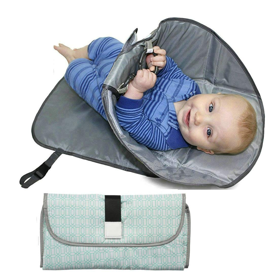 Atongham Portable Waterproof Baby Diaper Changing Mat Portable Covers with Storage Pockets Travel Urine Washable Baby Care Product Color C