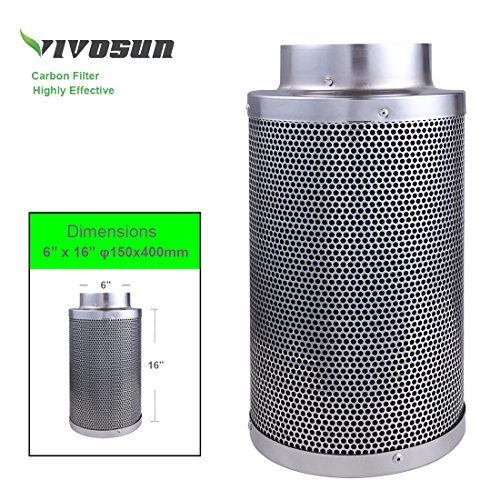 61vjcp60ltL - VIVOSUN 6 Inch Air Carbon Filter Odor Control with Australia Virgin Charcoal for Inline Fan, Pre-filter Included, Reversible Flange