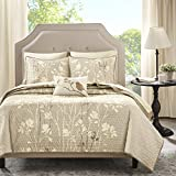 Madison Park Vaughn Complete Coverlet and Cotton Sheet Set Taupe Twin
