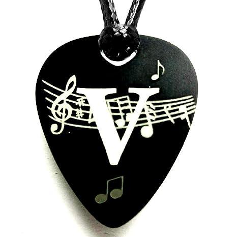 Colgante Inicial Púa Guitarra Aluminio Anodizado Negro (V): Amazon ...