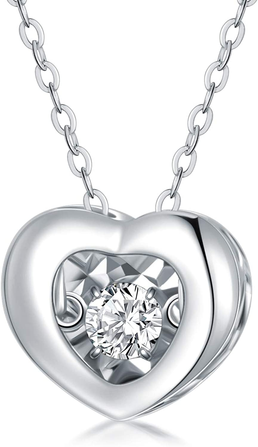 Heart pendant Gold Heart with zircons Anniversary gift Heart Necklace Romantic gifts for her
