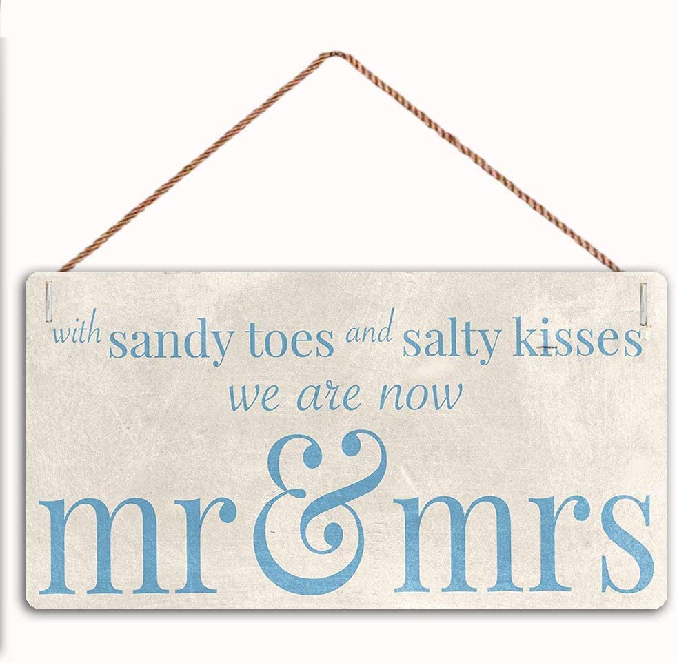 "GaoX-H with Sandy Toes Toes and Salty Kisss We are Now Mr & Mrs Wooden Plaque Home Decor Hanging Wall Art 5""x10"", Decorative Funny Sign,Garden Sign(BL-25)"