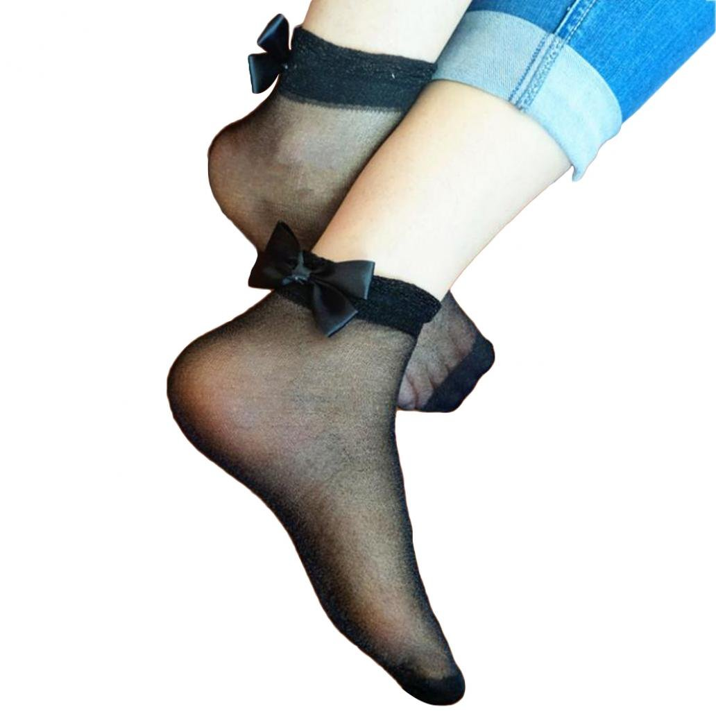 Ultra Thin Sheer Bowknot Bright Silk Socks Ankle Soft Fashion Women Heap Socks
