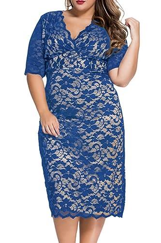 Veroge Womens Plus Size V-Neck Half Sleeve Lace Cocktail Party Midi Dress