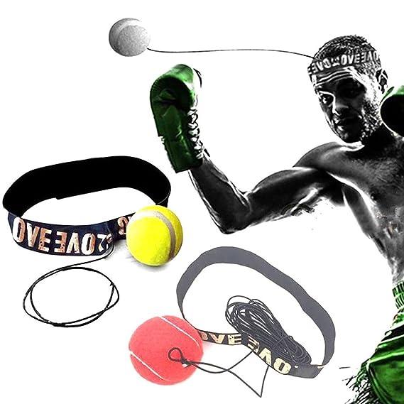 620bdf3e70 WalshK Bola de la lucha con la venda principal para el entrenamiento de la velocidad  del reflejo Boxeo del boxeo Ejercicio del sacador (Rojo)  Amazon.es  ...