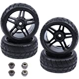 HobbyPark 1/10 On Road Tires & Wheels 12mm Hex For Redcat Racing Lightning EP Drift ,EPX PRO, STK (Pack of 4)