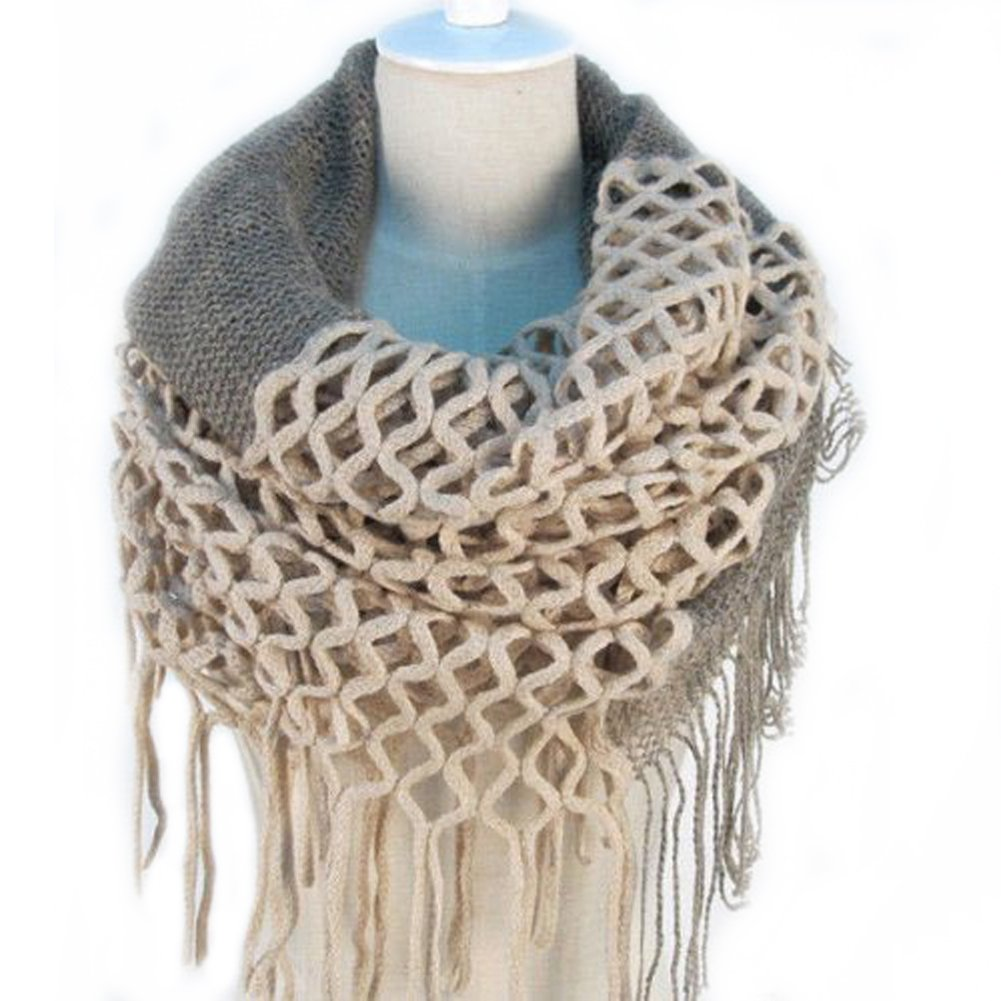 UZZO™2014 New Fashion Women Winter Warm Hollow Out Knit Knitting Infinity Scarf Tassels Soft Shawl Neck Warmer Wrap Scarves Various Colors Xmas Christmas Gift with 1Free UZZO Logo Keyring (Beige)