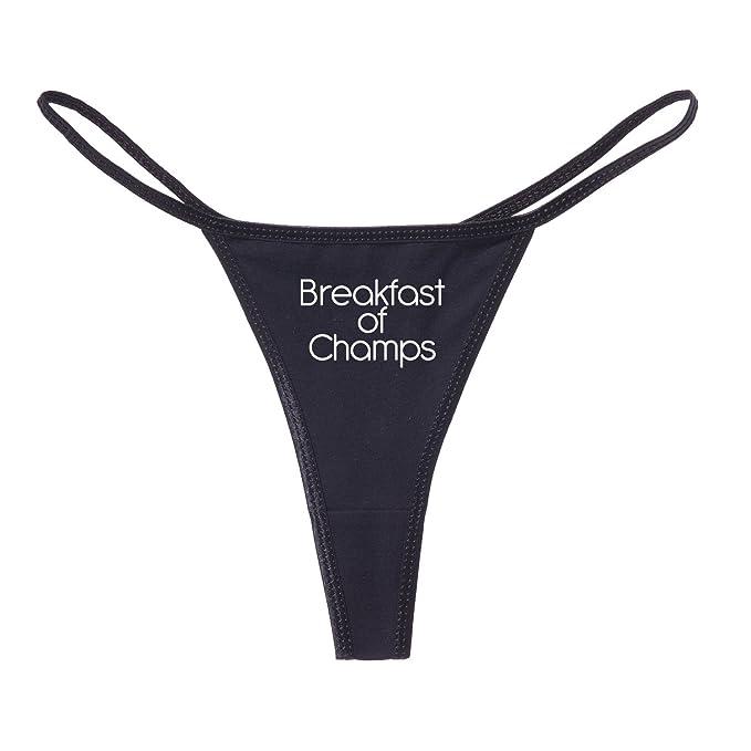Breakfast Of Champs Funny Women s Cotton Thong Bikini -  Black  Small  287273bbed