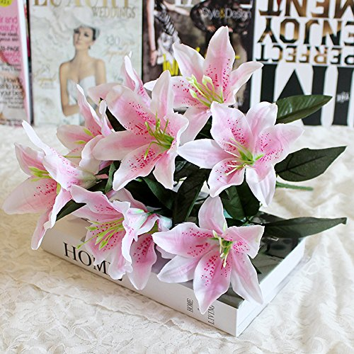 Mikilon Artificial Lilies 10 Heads Fake Lily Artificial Flower Wedding Party Decor Bouquet Home Hotel Office Garden Craft Art Decor Pink (Pink)