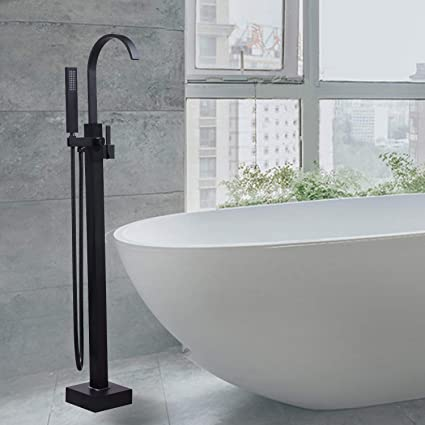 Bon Homili Black Bathroom Freestanding Bathtub Faucet Floor Mounted Waterfall  Tub Filler With Hand Shower Set