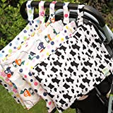 Olpchee 5 Pack Wet & Dry Cloth Diaper Bags with Double Zipper Design, Hanging Diaper Organizer for Outdoor Baby Stroller, Waterproof and Washable