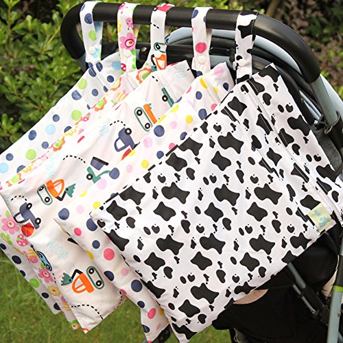 Olpchee 5 Pack Wet & Dry Cloth Diaper Bags with Double Zipper Design, Hanging Diaper Organizer for Outdoor Baby Stroller, Waterproof and Washable by Olpchee