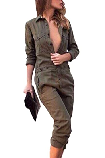 2fb05fba2cf4 Mupoduvos Women Casual Solid 3 4 Sleeves Deep V Loose Jumpsuits Pants  Overalls  Amazon.co.uk  Clothing