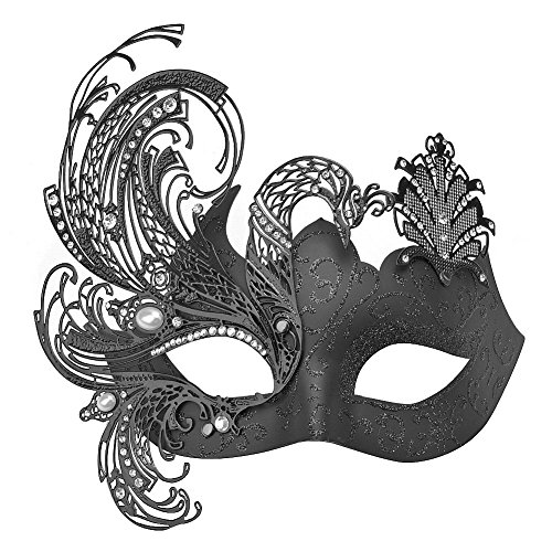 Party Mask, Cozypony Elegant Princess Peocock Laser Cut Metal Venetian Masquerade Masks for Halloween Mardi Gras Party or Prom (One Size, Black) - Elegant Laser Cut Mask