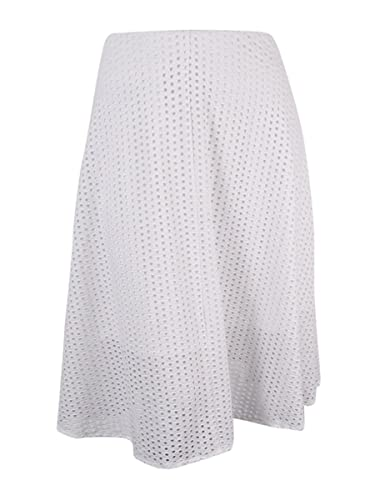 Alfani Womens Eyelet Mid Calf A-Line Skirt White L