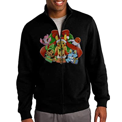 HEHE Men's Zip-up Jacket Hooded Hoodies Pokeman Go Christmas Black