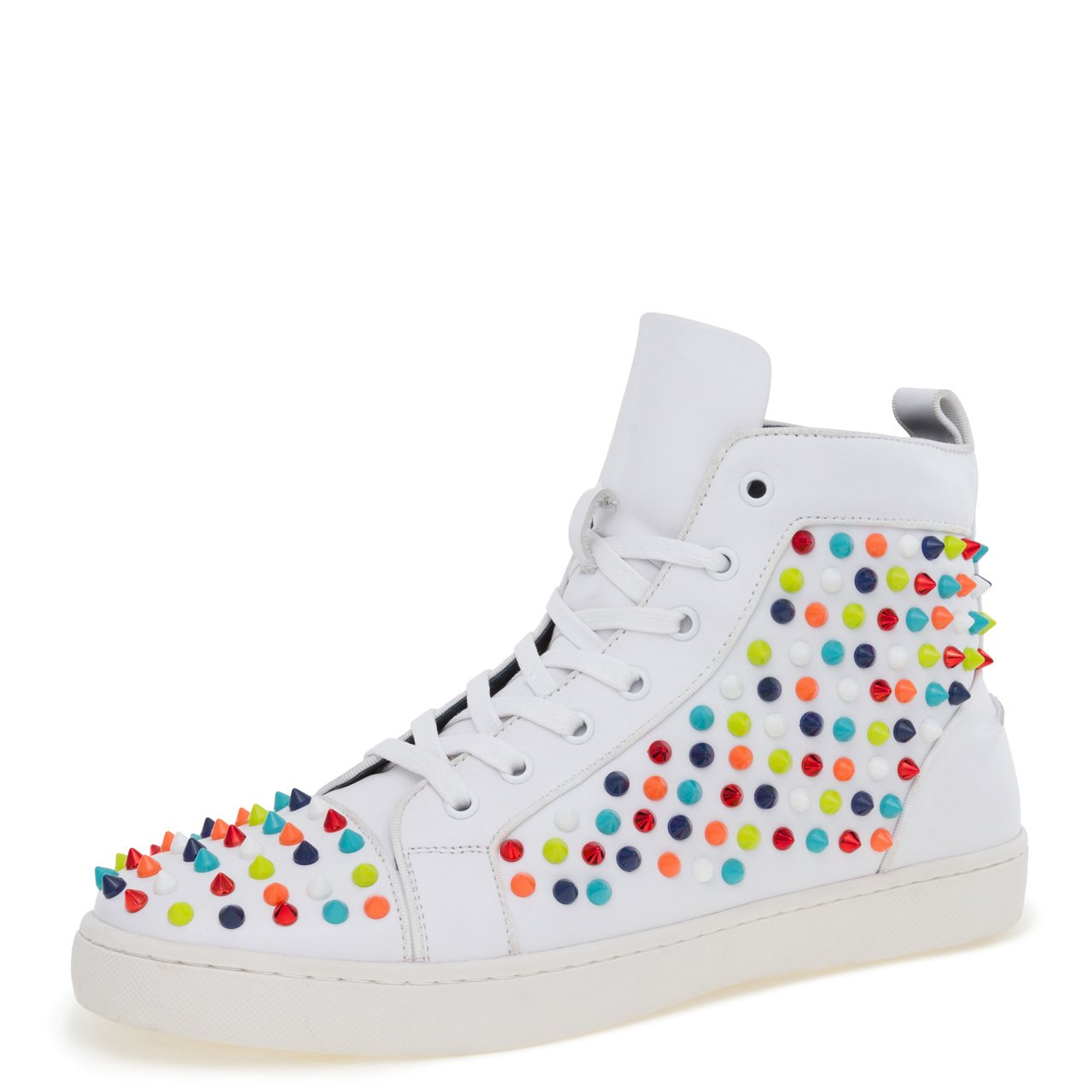 J75 by Jump Men's Rarity Round Toe Spike Detail Lace-up High-Top Sneaker White Multi 8 D US Men
