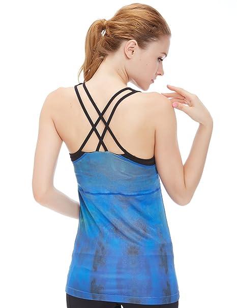 icyzone Damen Fitness Trainings Shirt mit BH - X Rücken Sport Gym Top Oberteile