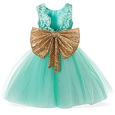 Lace Formal Sequins Flower Girl Dress For Party Pageant Dresses Clothes Clothing Kids Knee Mid