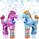 Pink & Blue Horse Bubble Blaster Gun Set by ArtCreativity, LED & Sound Effects | Includes 2 Bubble Guns & 4 Bottles of Solution | Batteries Included | Great Outdoor Summer Toys