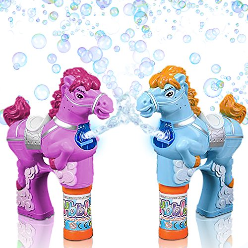 Pink & Blue Horse Bubble Blaster Gun Set by ArtCreativity, LED & Sound Effects | Includes 2 Bubble Guns & 4 Bottles of Solution | Batteries Included | Great Outdoor Summer Toys by ArtCreativity