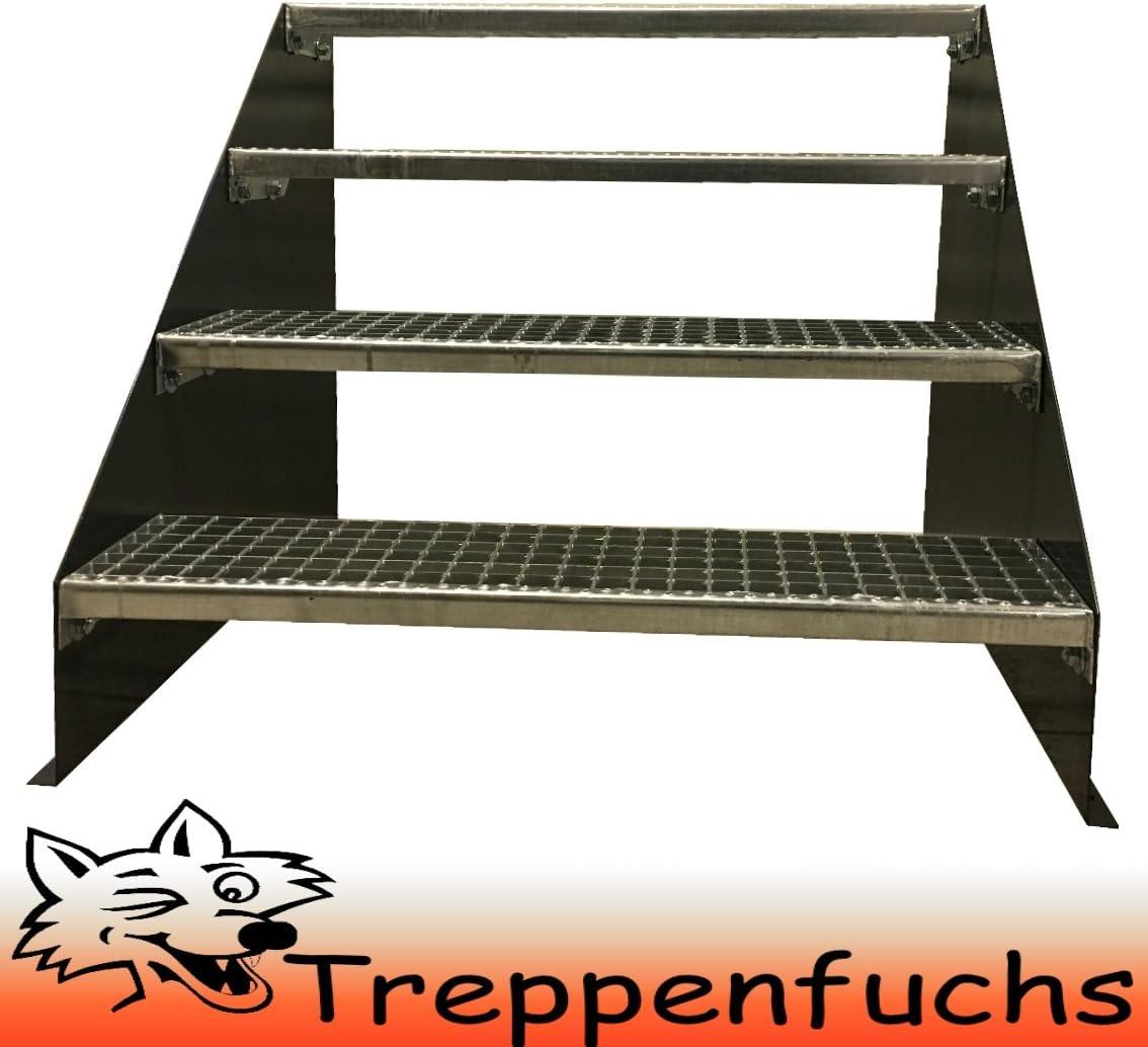 4 Stufen Standtreppe Stahltreppe freistehend Breite 160cm H/öhe 84cm Anthrazitgrau// Robuste Au/ßentreppe Stabile Industrietreppe f/ür den Au/ßenbereich