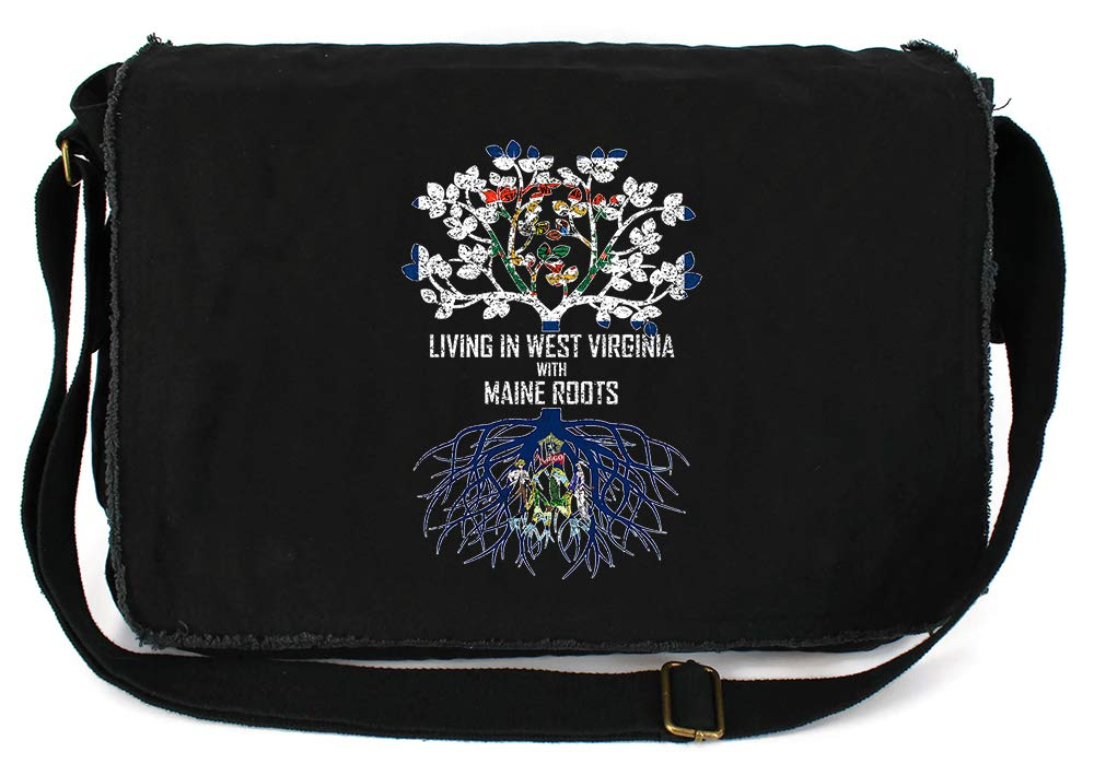 Tenacitee Living In West Virginia with Maine Roots Grey Brushed Canvas Messenger Bag