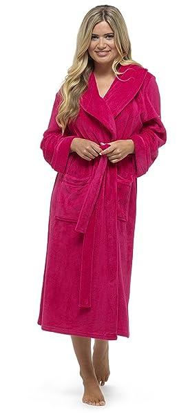 Señoras largo Plain suave forro polar Coral dreesing vestido túnica Rosa rosa L: Amazon.es: Ropa y accesorios